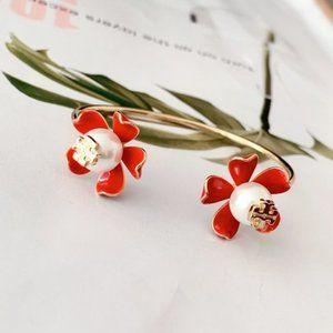 Tory Burch Red enamel inlaid pearl logo bracelet